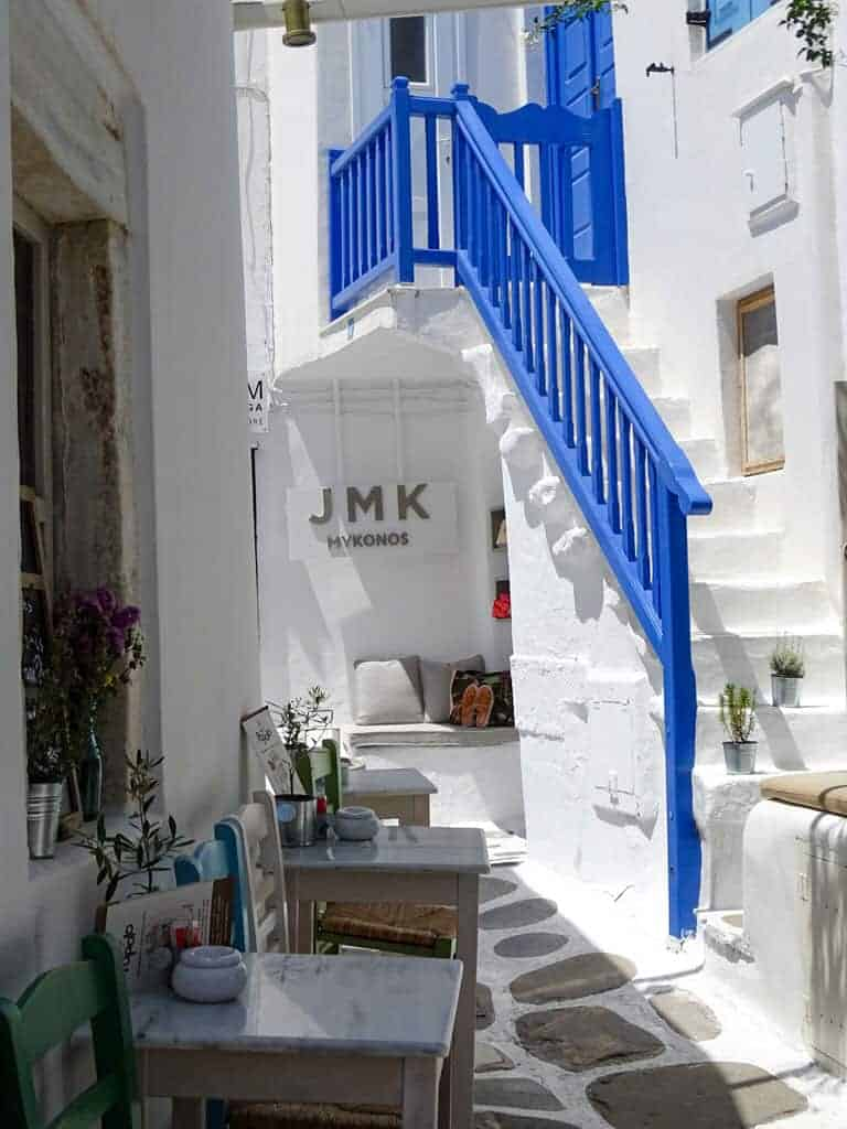 Blue on white JMK Mykonos