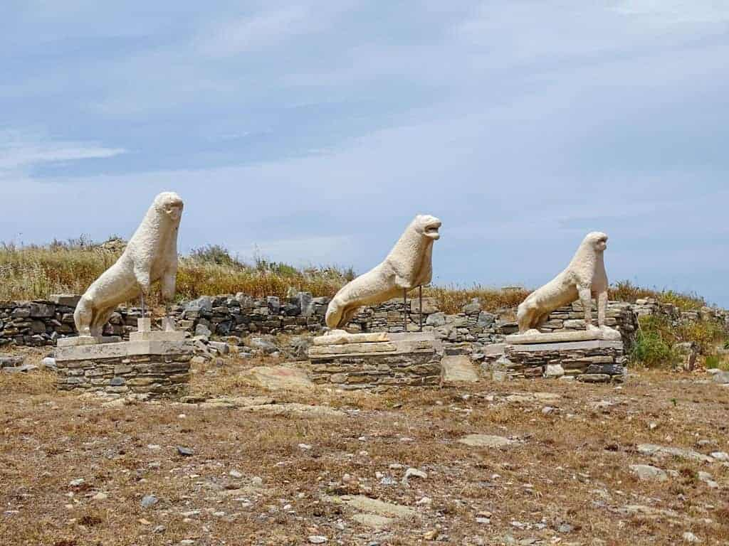 Sacred lake of Delos guarded by 3 white marble lions on Mykonos.