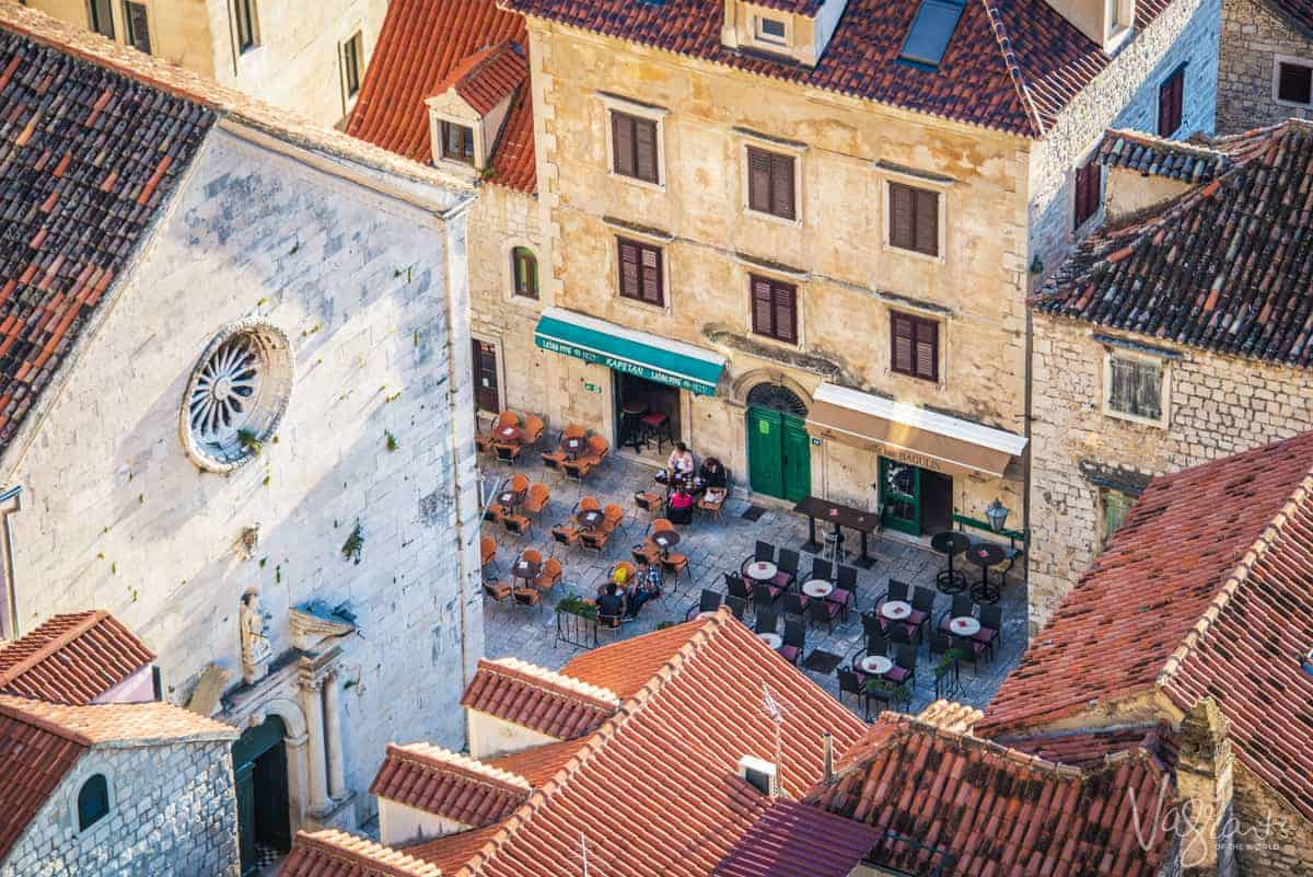 Outdoor dining amongst the old buildings in Omis.