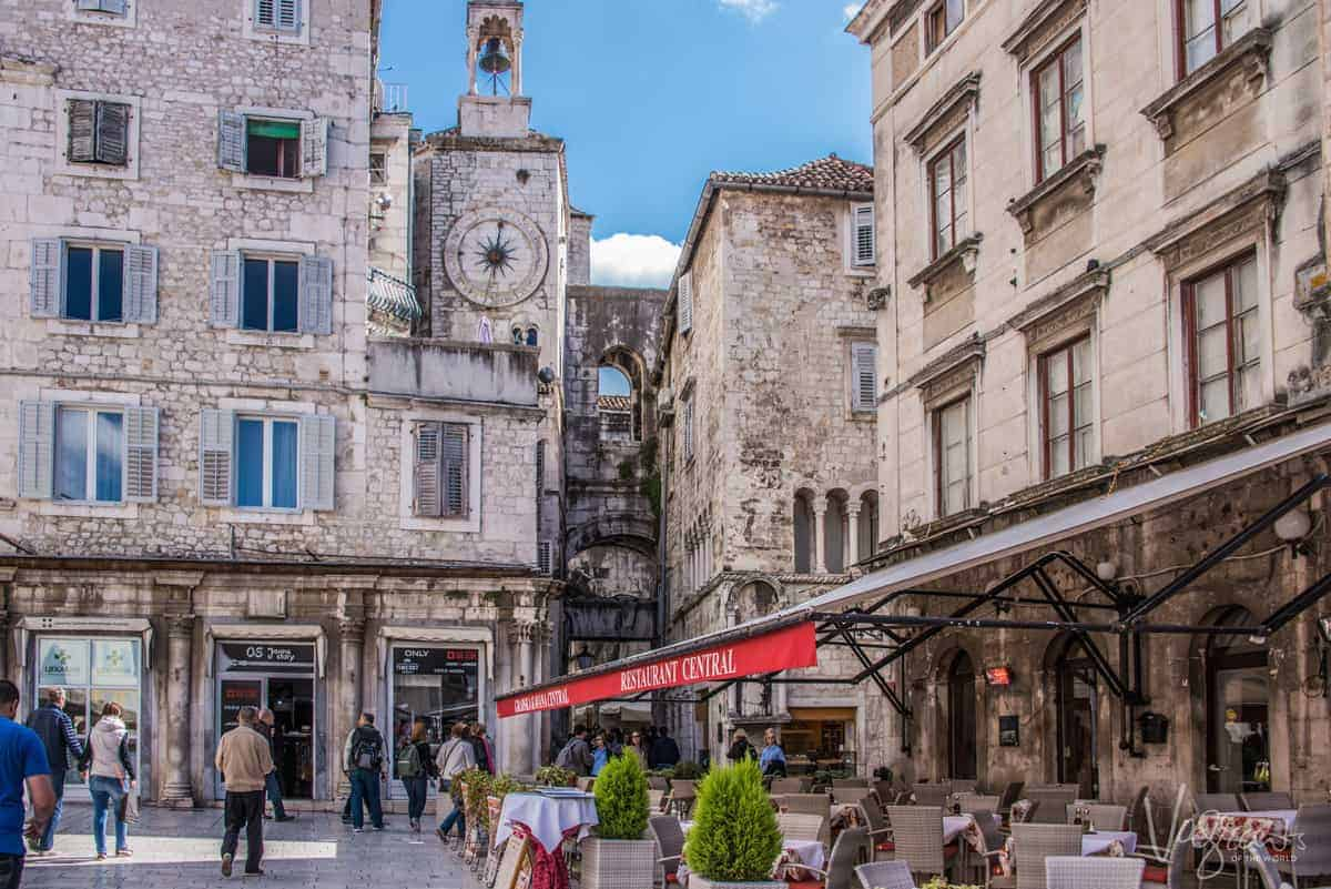 Old town boardwalk of Split with fantastic outdoor dining.