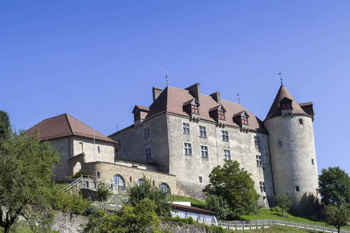 Gruyere medieval castle and famous Gruyere Cheese factory.