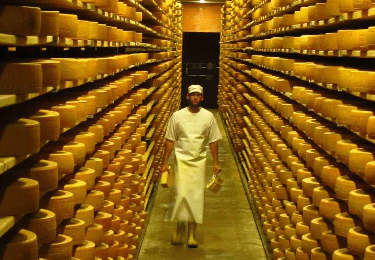 Man surrounded by racks of cheese at cheese factory La Maison du Gruyère