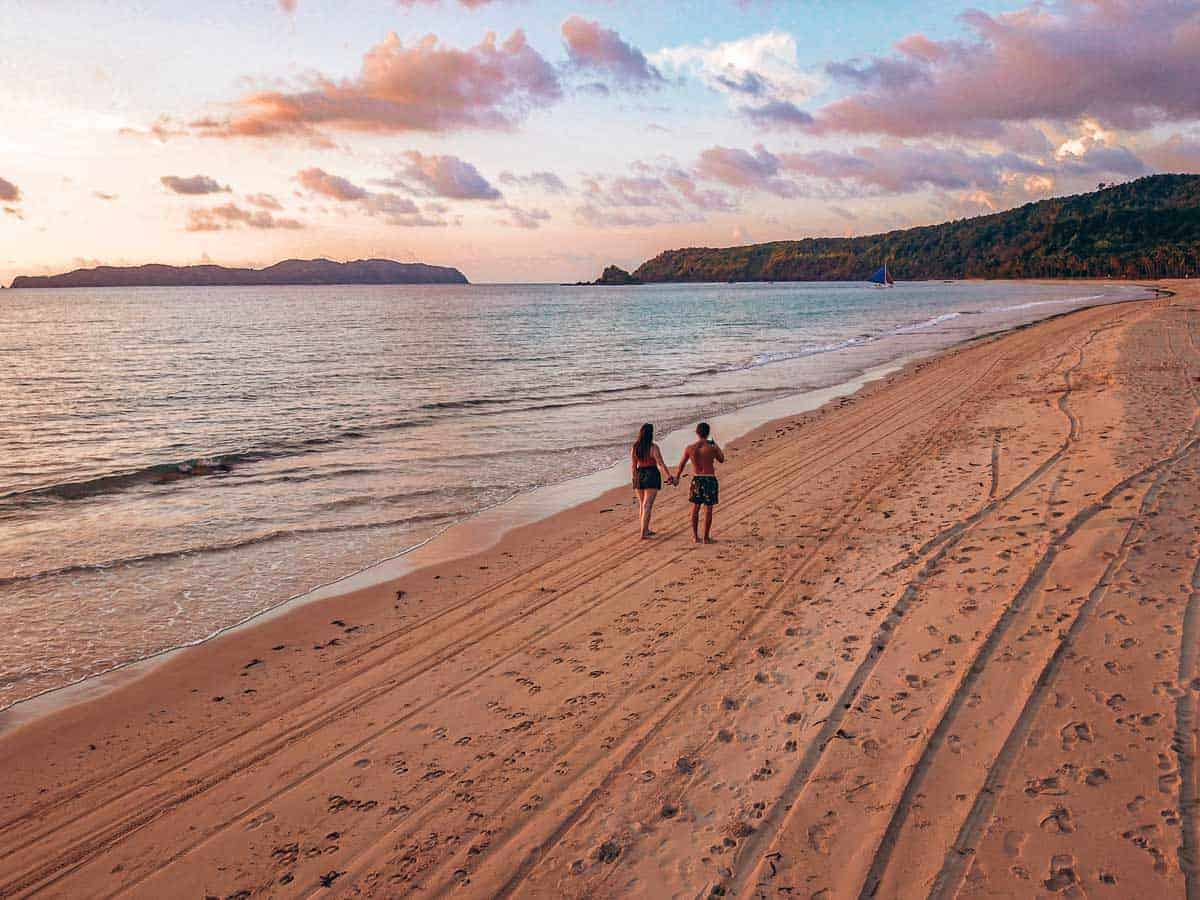 sunset on Nacpan Beach El Nido