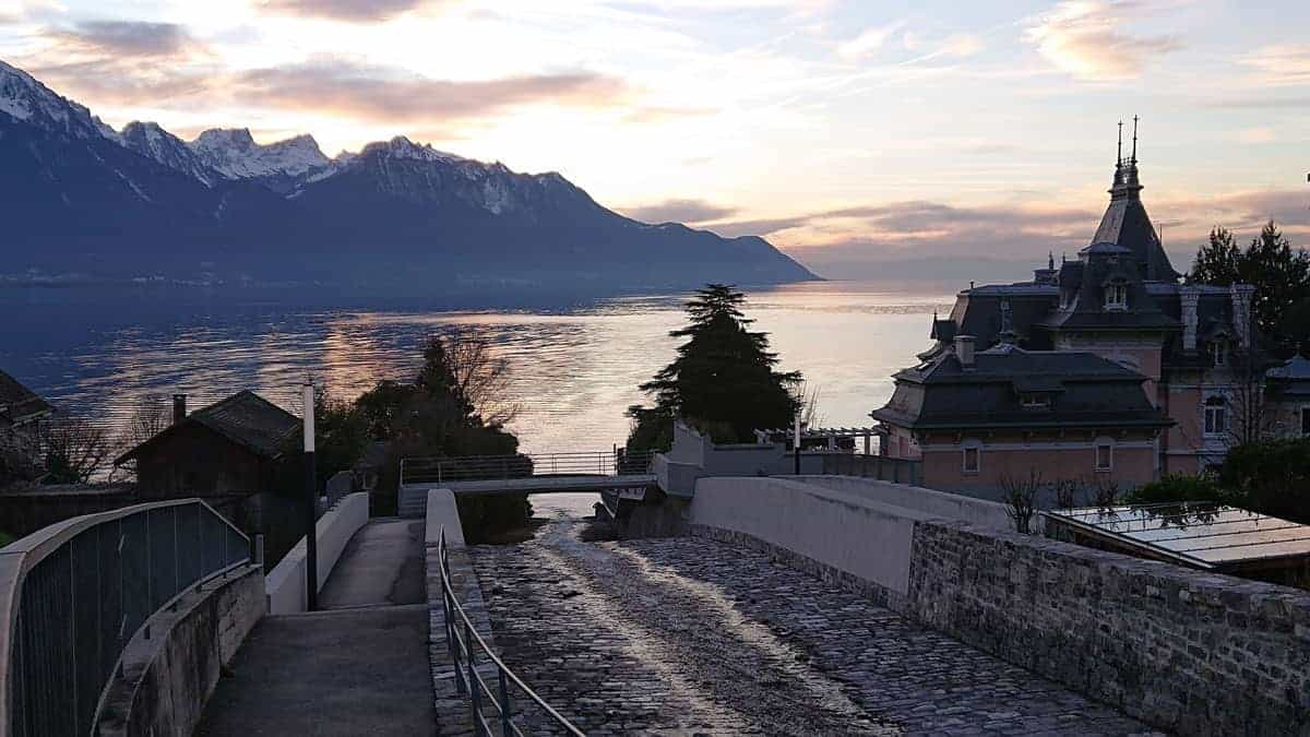 Walkway down to the lake at dusk twilight Montreux