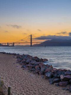 Sunset over the golden gate bridge San Francisco.