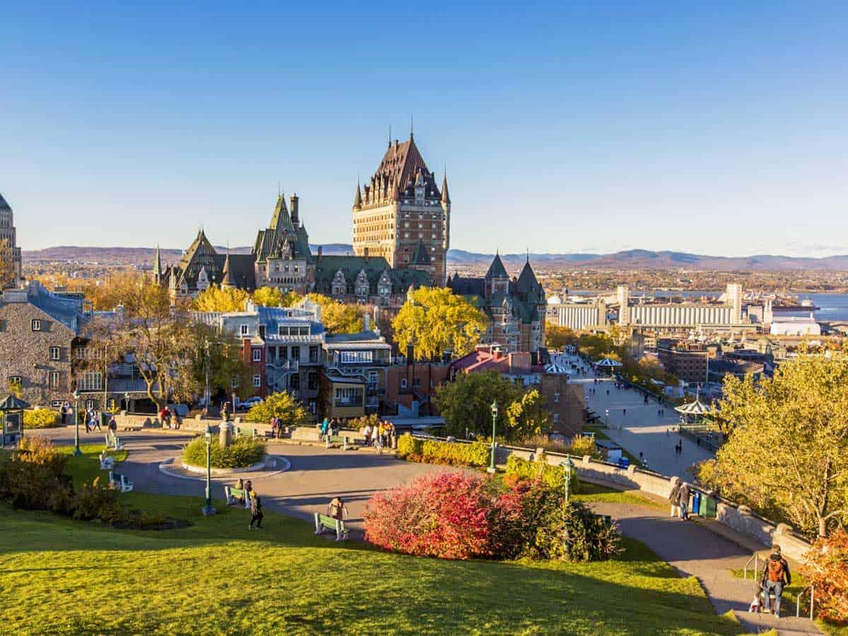 Fall colours surround Frontenac Castle or the Fairmont Le Château Frontenac, Quebec city.