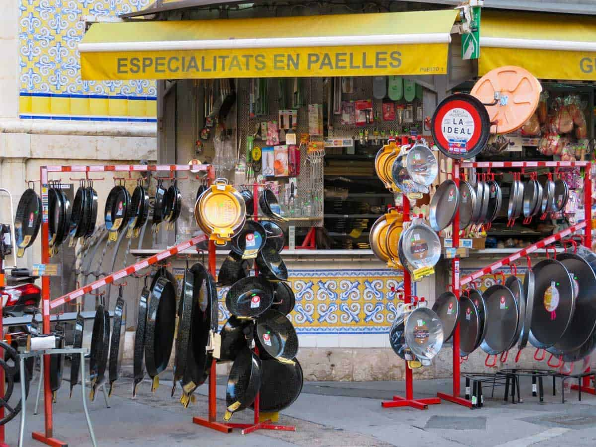 Paella dishes for sale in all shapes and sizes.  Valencia is the best place to shop for paella dishes.