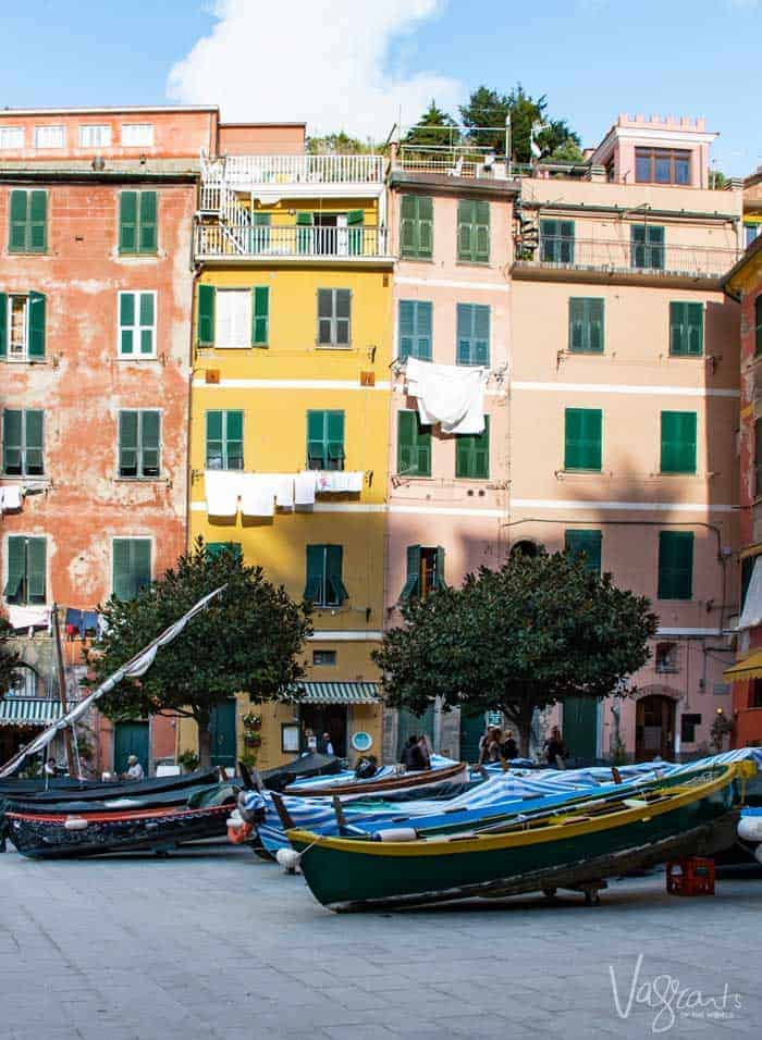 Skinny colourful buildings, washing hanging from lines across the windows and boats resting in the forecourt.