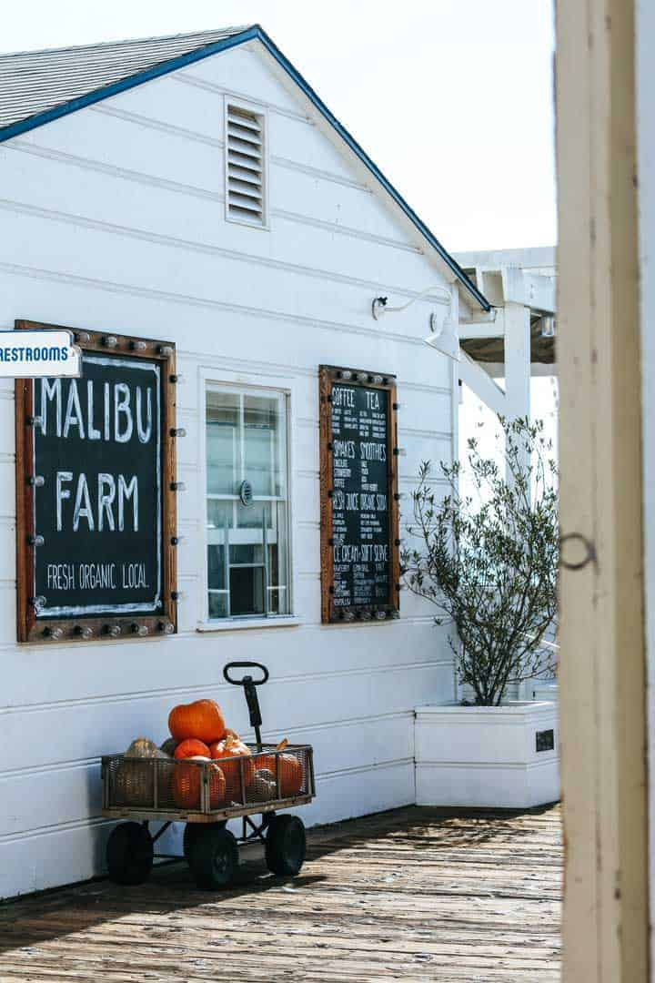 Buy your groceries from the Malibu Farm organic shop.
