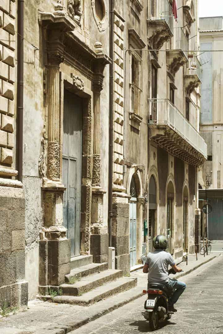 Motorbike in Catania, Sicily in Italy in baroque street