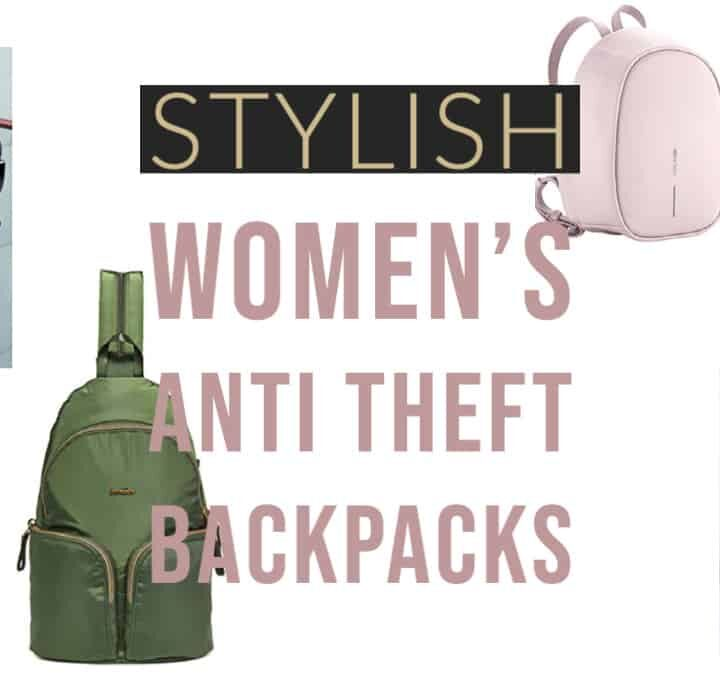 Collage of women's anti theft backpacks