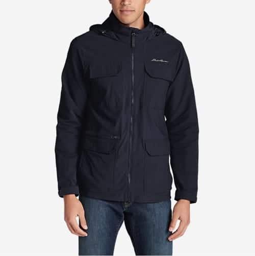 Model shot of a men's travel jacket.