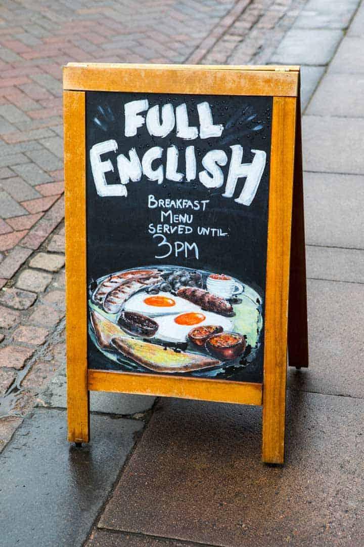 Sandwich board advertising full English breakfasts.