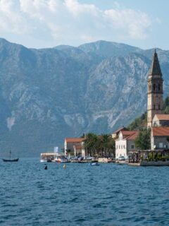 The old town of Perast with the prominent church spire on the Bay of Kotor in Montenegro.