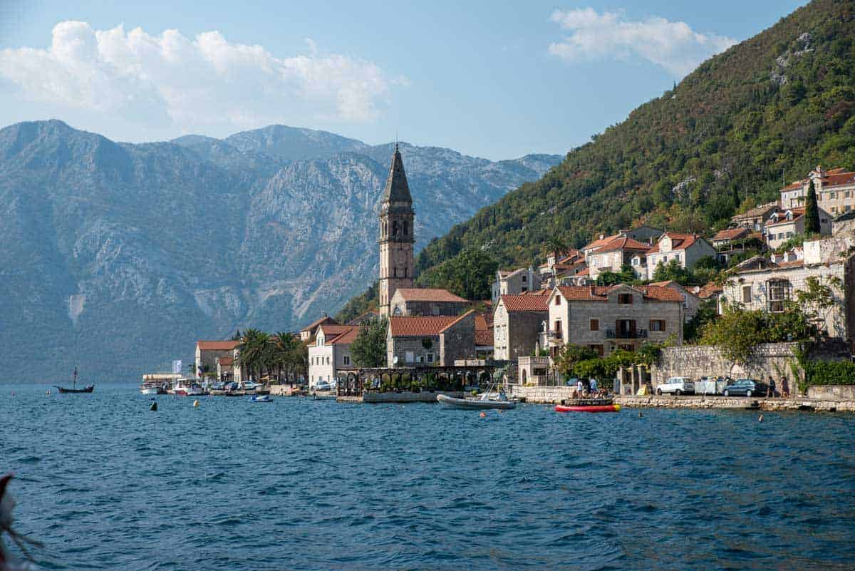 The old town of Perast on the bay of Kotor as seen from sea.