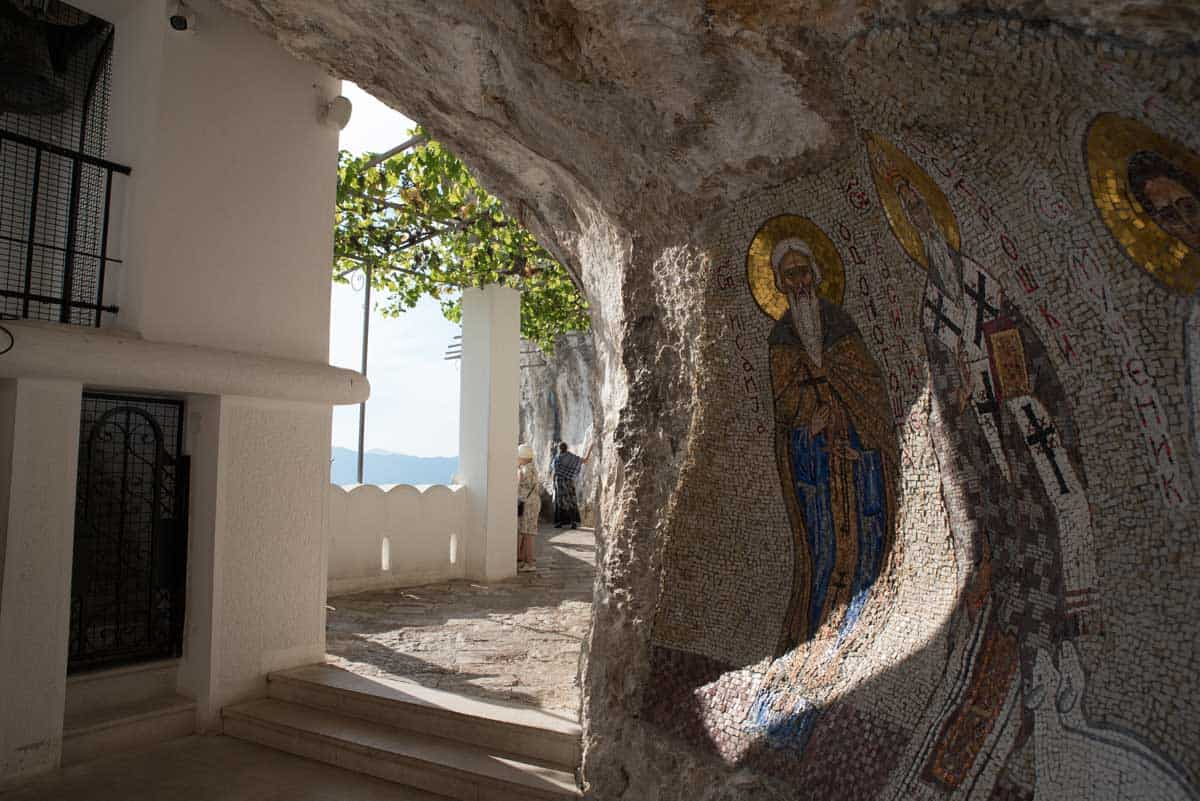 Mosaics on the wall in Ostrog Monastery Montenegro.