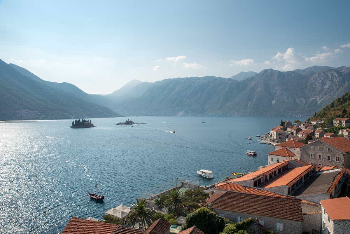 Aerial view of Perast and Our Lady of the Rocks island in Bay of Kotor.