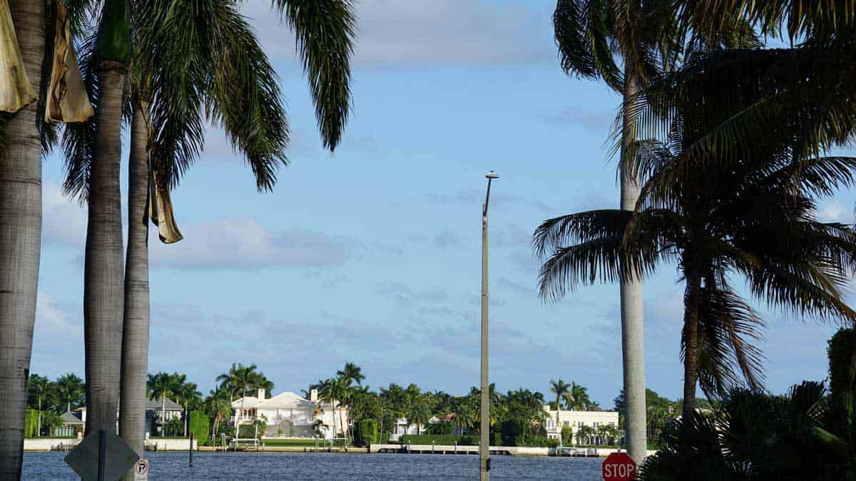 Mansions and palm trees along the waterfront of West Palm Beach.