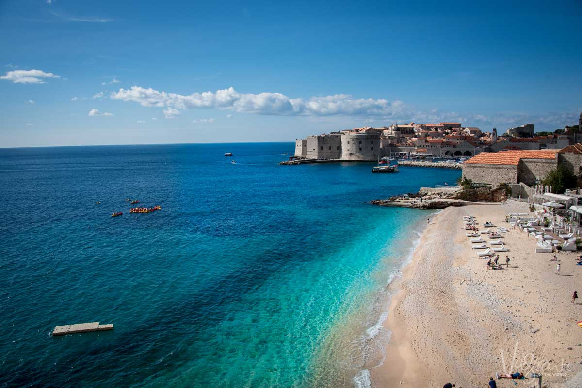 The blue water of the Adriatic on the beach next to Old Town Dubrovnik.
