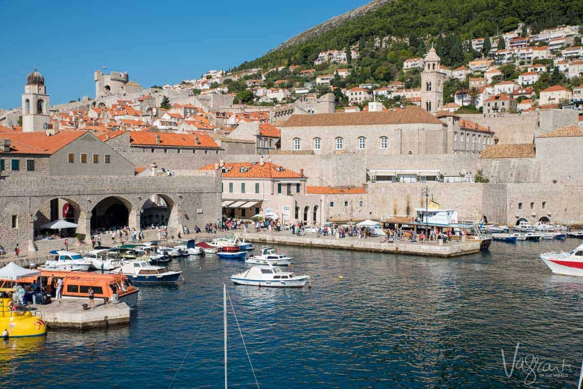Boats moored in the Dubrovnik harbour outside the walled city.