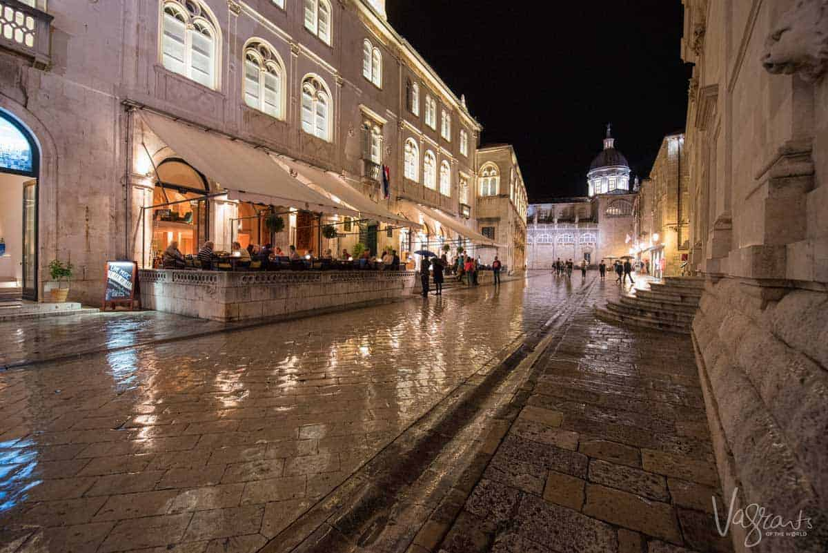 Night scene in the streets of Old Town Dubrovnik.