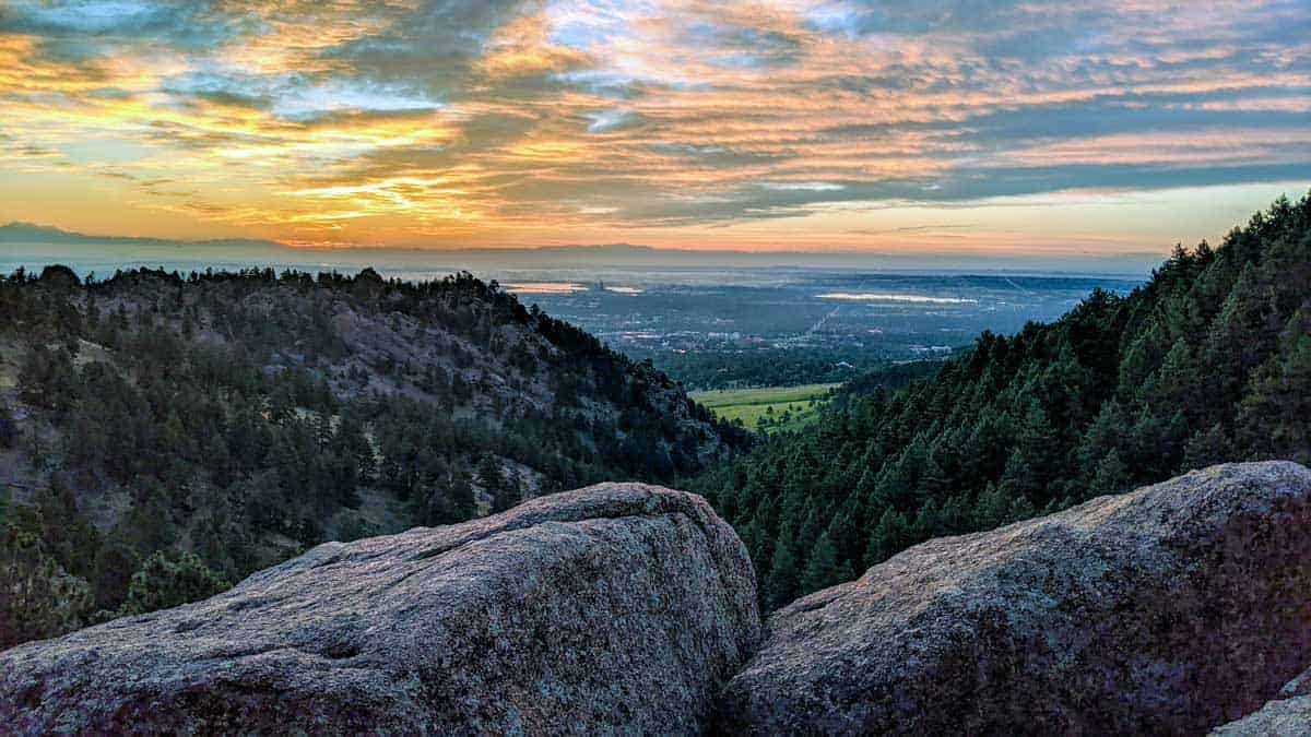 Views across the countryside from the top of Green Mountain at sunset.