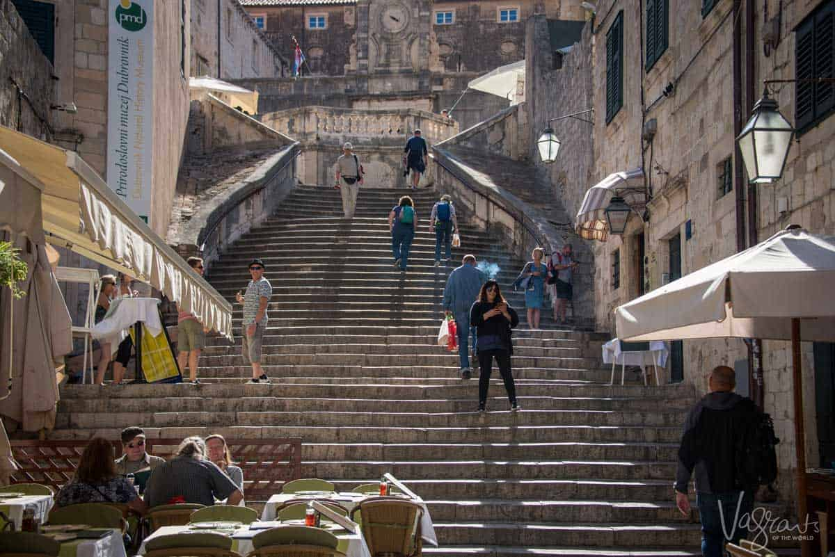 Tourists on the Jesuit Stairs in Dubrovnik Old Town as featured on Game of Thrones.