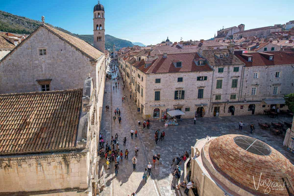 Views down the main street in Dubrovnik Old Town from the top of the city walls.