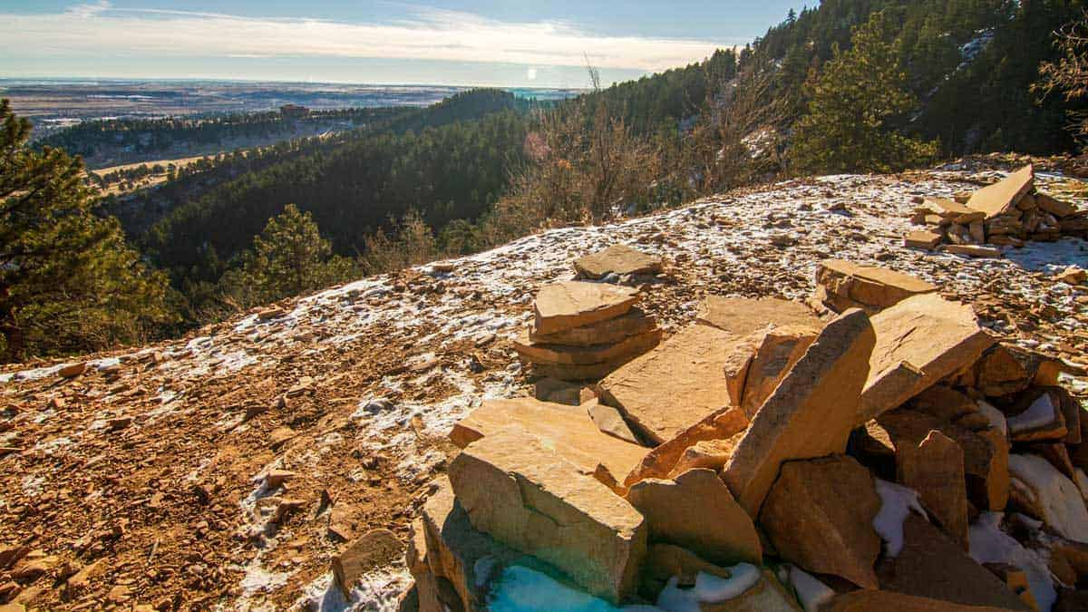 Scenic views from Woods Quarry hike Boulder Colorado.