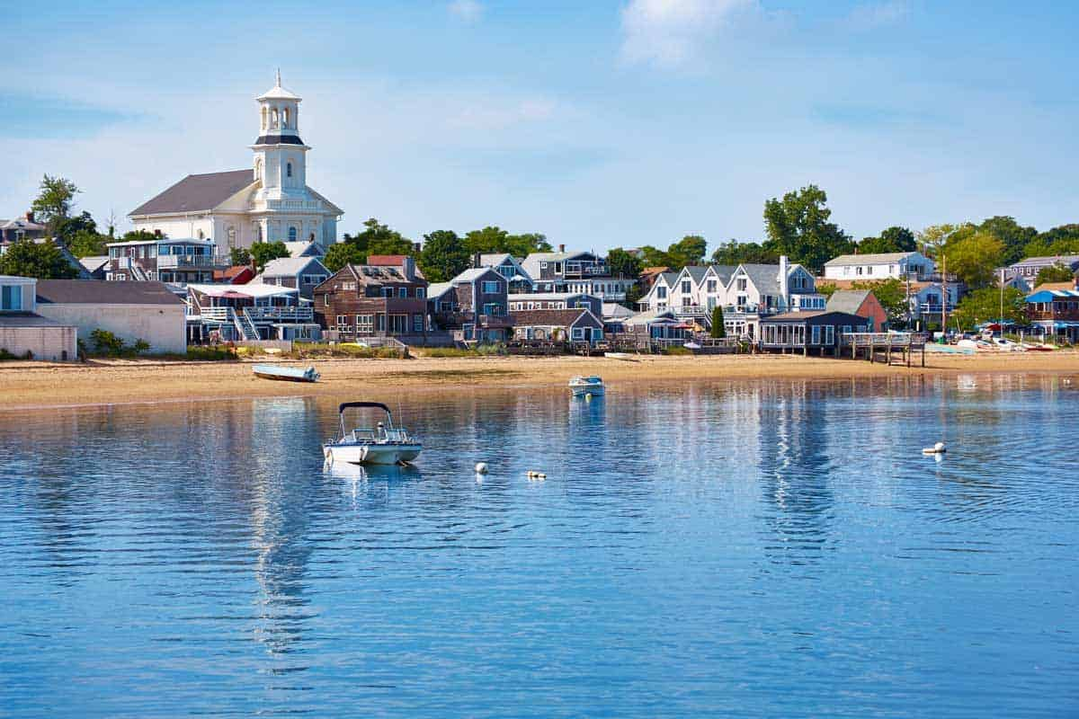Provincetown Cape Cod and the beach as seen from the water.