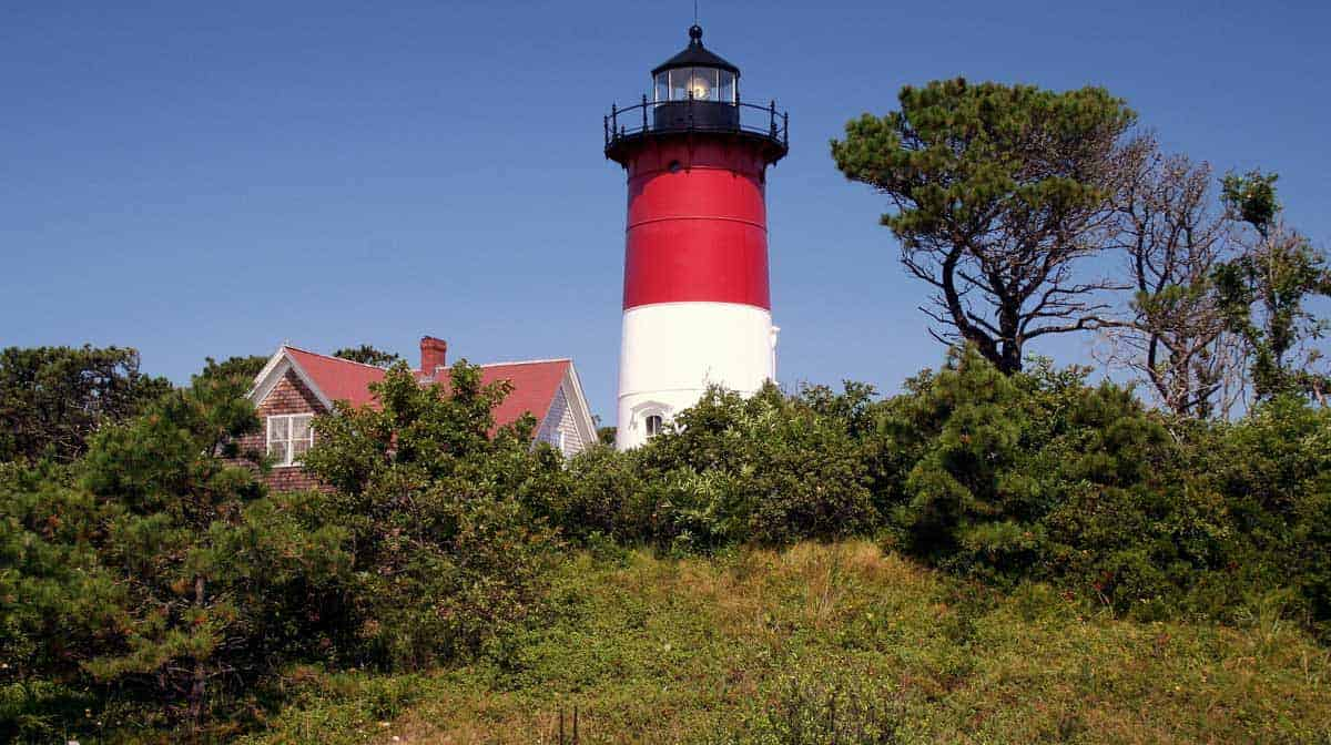 The Nauset Beach red and white lighthouse in Cape Cod.