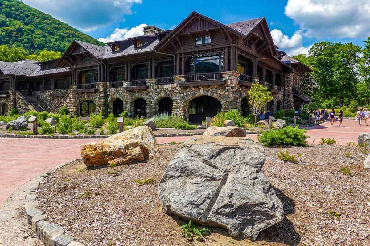 The large stone built Bear Mountain Inn int he Bear Mountain State Park.