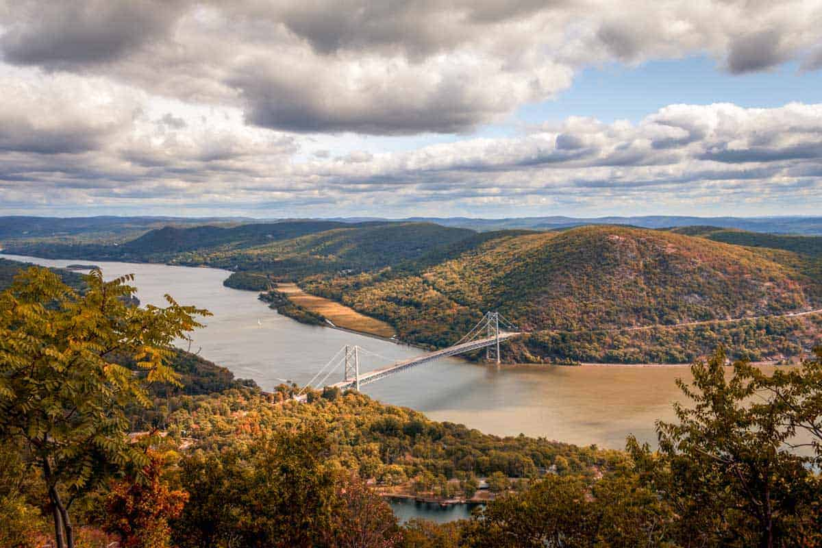 Views over the Hudson River with fall colours from Bear Mountain State Park.