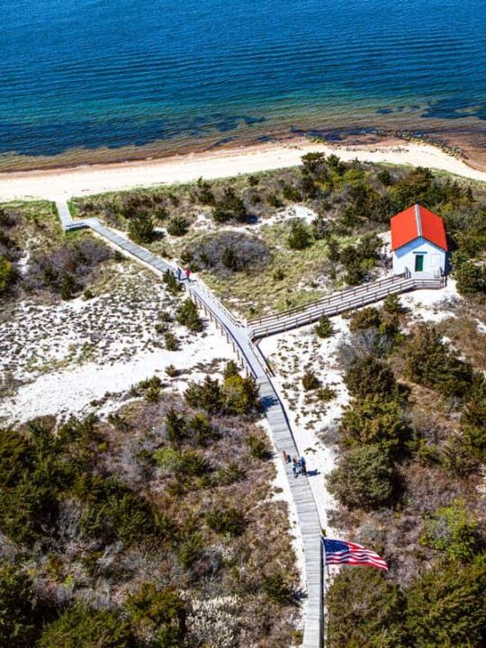 Aerial view over Fire Island boardwalks and beach.
