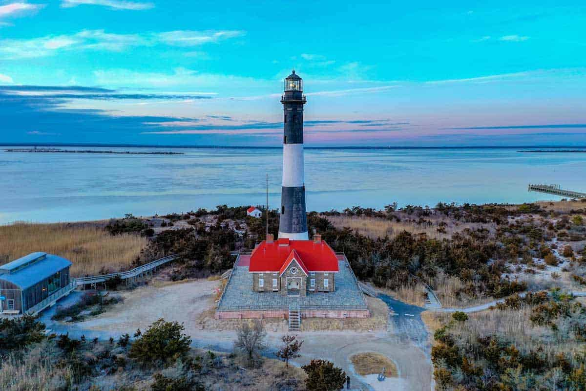 Aerial view of Fire Island lighthouse.