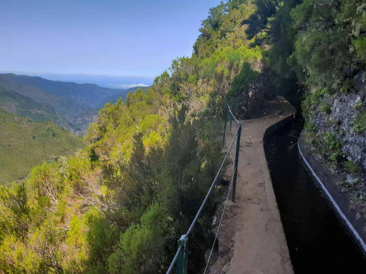 Walking trail with sweeping views along the Madiera levada water channels,