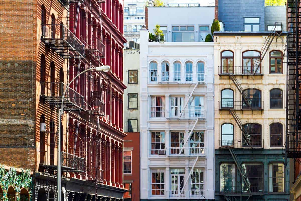Classic historical building facades in Soho NYC.