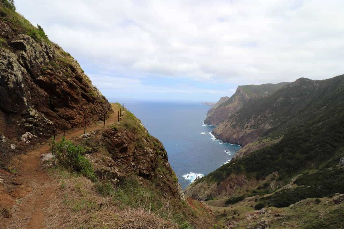 View over cliffs to the sea on Madeira Island.