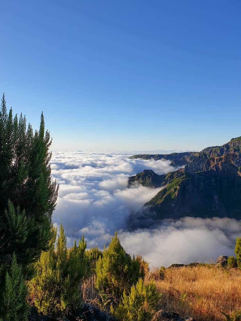 View from mountain top from above the clouds on Madeira Island.