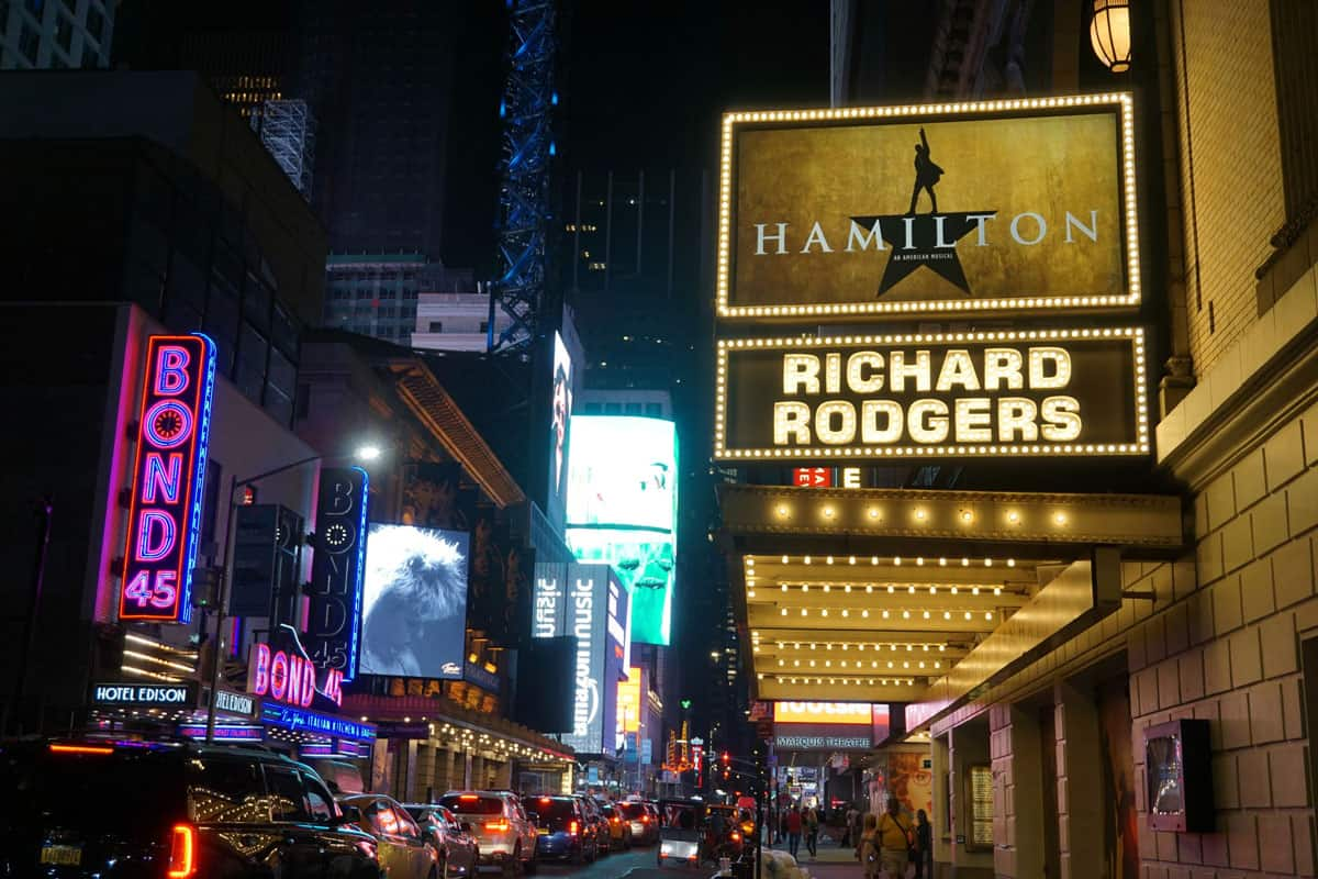 The theaters on Broadway lit up at night.