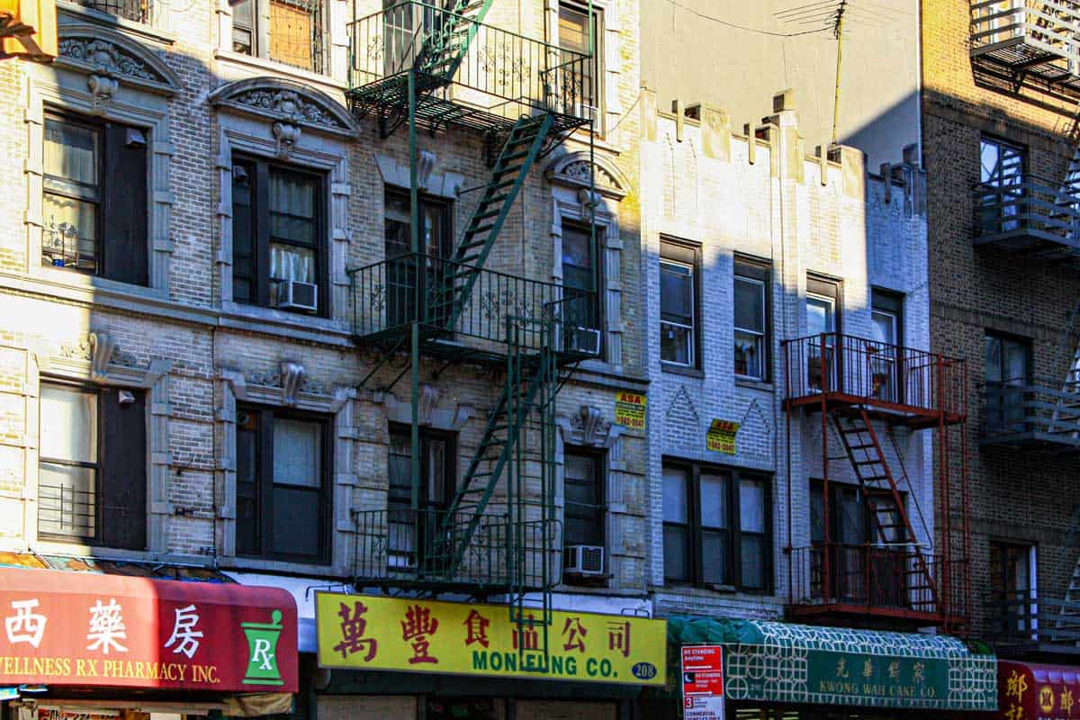 Shop awnings and buildings in Chinatown New York.