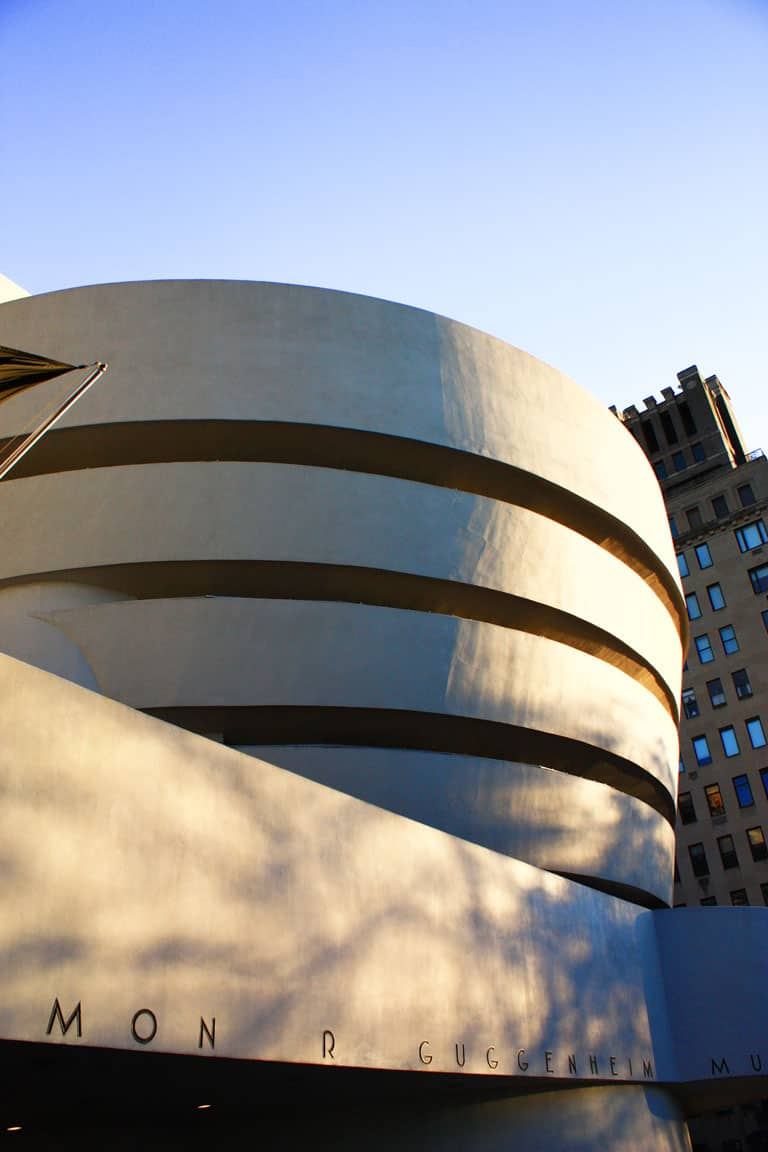 The unique white rounded exterior of the Guggenheim Museum.
