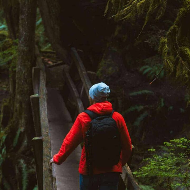 Man in red jacket hiking through moss covered forest.