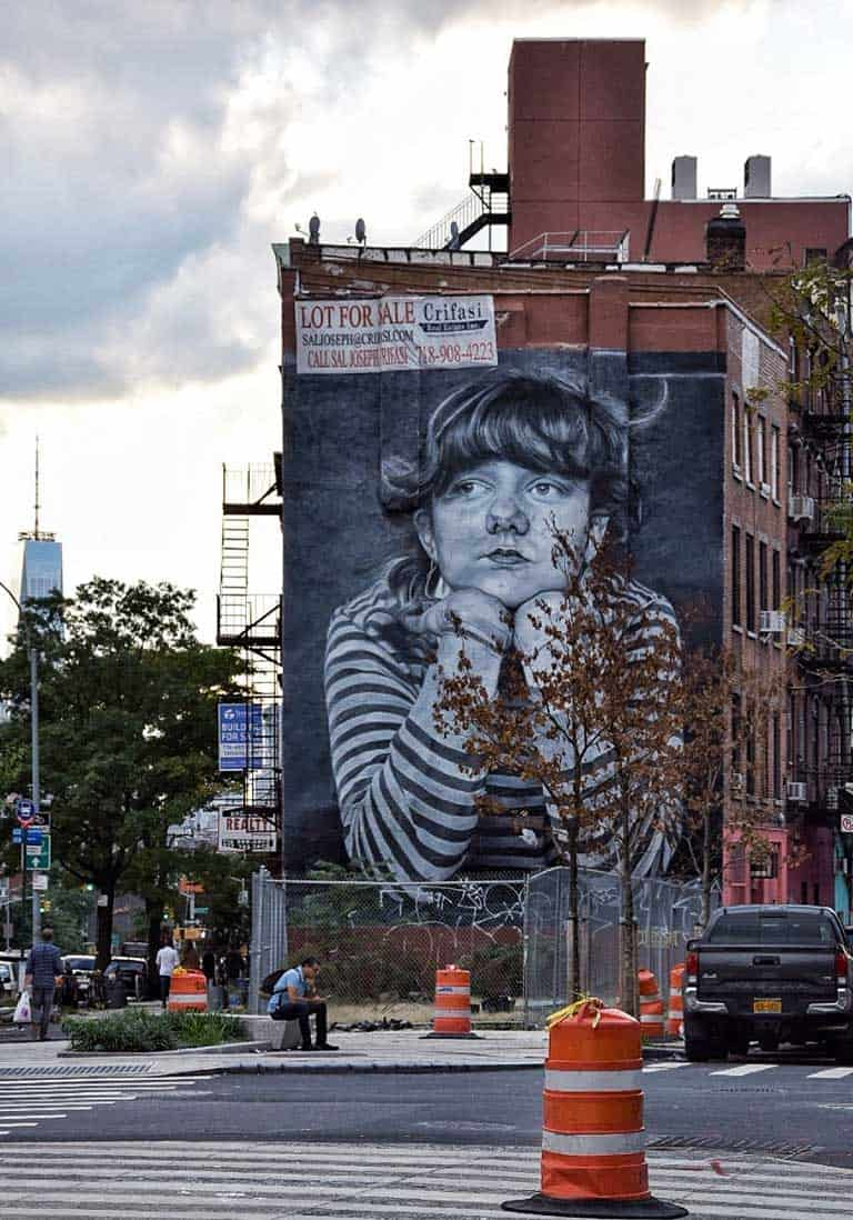 Large street art mural in  Brooklyn.