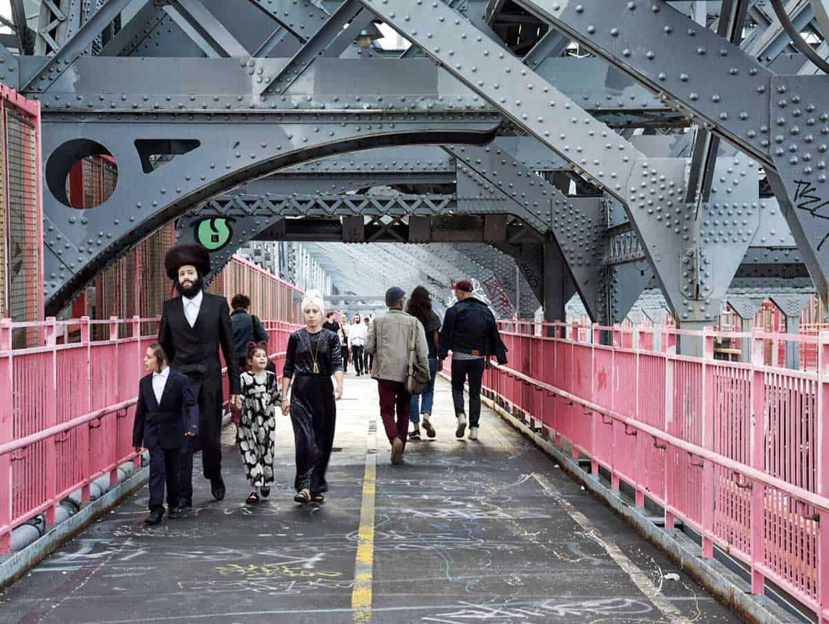 Orthodox Jewish family walking in New York.