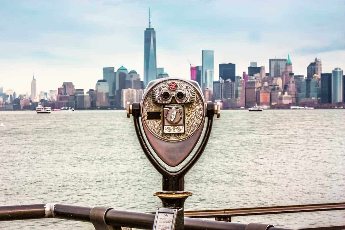 New York Coin operated binoculars with city skyline in the background.