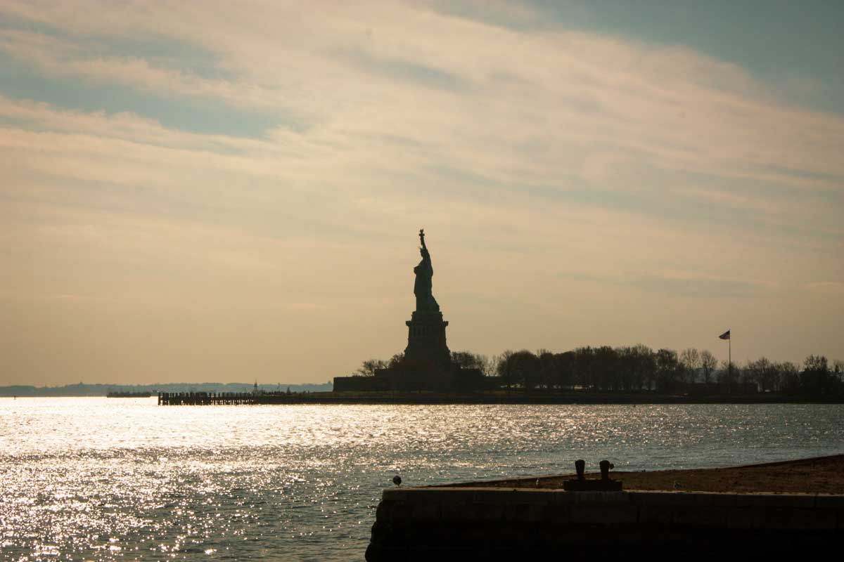 Statue of Liberty Silhouette at dusk.