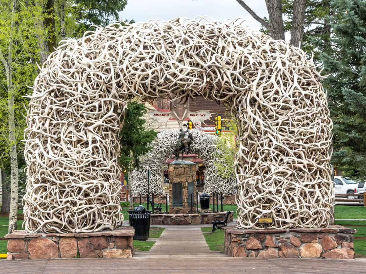 The antler arch in downtown Jackson.