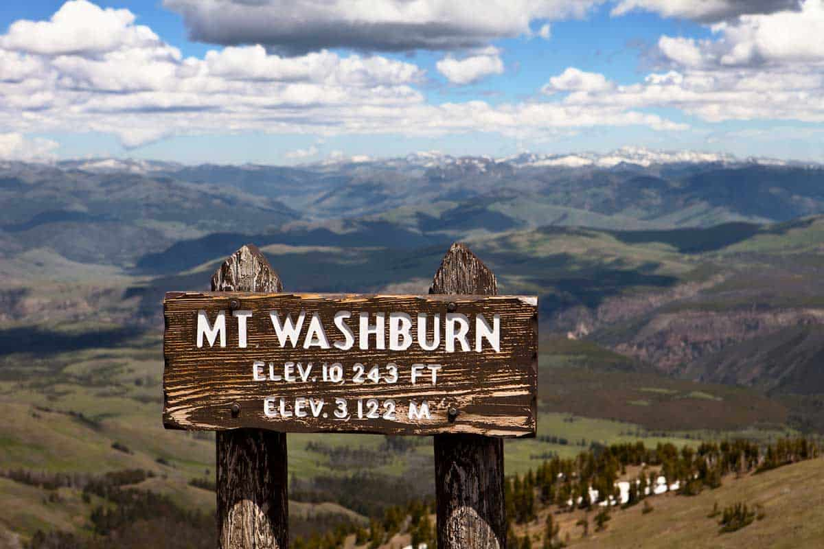 Mount Washburn sign with elevation information from the summit with mountain vistas.