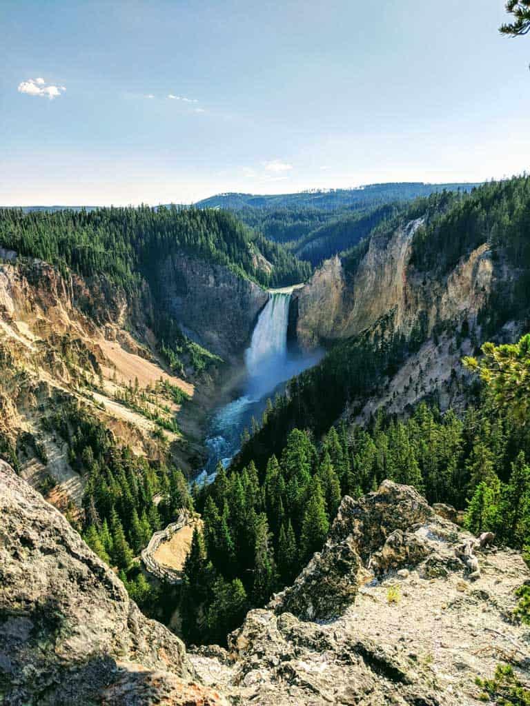 Waterfall scene in Yellowstone National Park